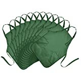 DALIX Apron Commercial Restaurant Home Bib Spun Poly Cotton Kitchen Aprons (2 Pockets) in Dark Green 12 Pack