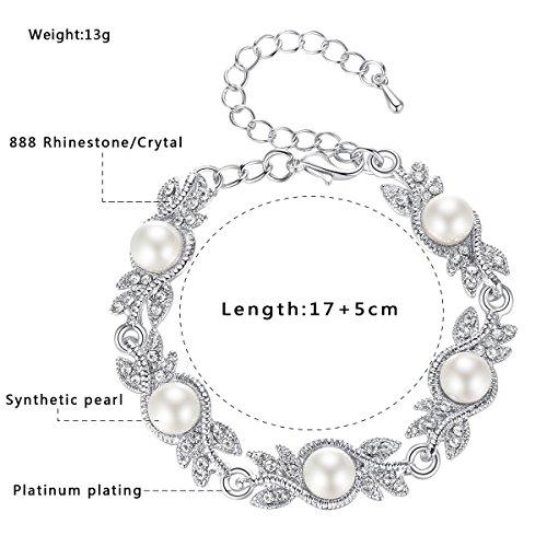 mecresh Women's Simulated Pearl Jewelery Set for Wedding Clear Austrian Crystal(1 Set Earring,1PCS Bracelet) by mecresh (Image #5)