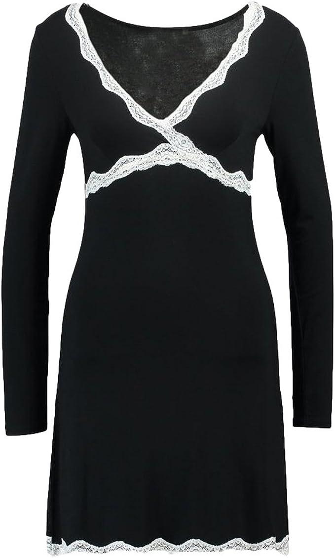 hibote Mujeres Camisones de algodón Modal SleeveShirts Camisa de Dormir de Manga Larga Sexy Vestido Casual Mujer Vestido de Noche de la Vendimia Negro 2XL: Amazon.es: Ropa y accesorios