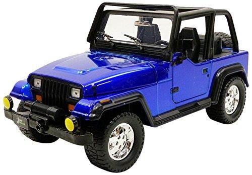 Blue Metallic Diecast Car (Jada 1992 Jeep Wrangler Metallic Blue 1/24 Diecast Model Car)