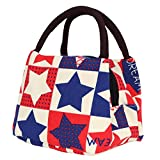 Rrimin Casual Printing Lunch Bag for Office School Shopping (Red Blue Star)
