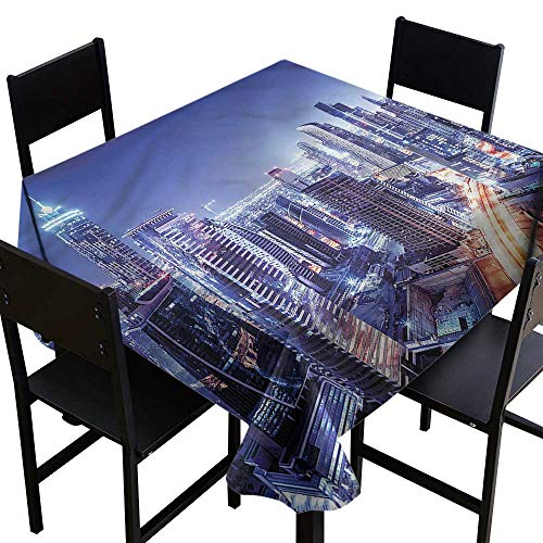 haommhome Waterproof Tablecloth City Dubai Downtown Modern UAE Soft and Smooth Surface W54 xL54 Washable Polyester - Great for Buffet Table, Parties, Holiday Dinner, Wedding & More -