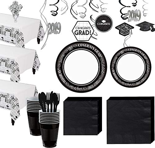 (Party City Celebrate Success 2019 Graduation Tableware Supplies for 80 Guests with Centerpiece and)