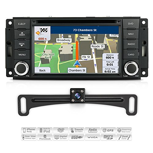 Aimtom 07-17 Jeep Wrangler 08-17 Dodge Grand Caravan Car Indash GPS Navigation Stereo System with Rear Camera Radio Head Unit Deck 7 Inch Touchscreen Video Player SD Bluetooth Receiver Copyrighted Map