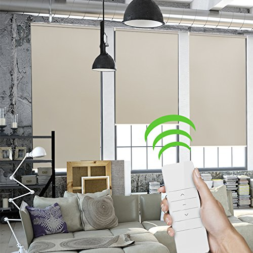 Motorized Smart Blinds Remote Blackout Roller Shade Electric Screen Window Shade Design for Office Kitchen Living Room Smart Home(Coffee)
