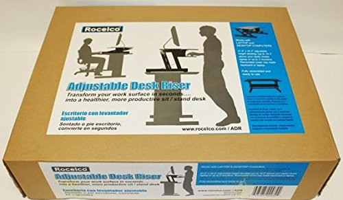 Rocelco ADR Height Adjustable Sit/Stand Desk Computer Riser, Dual Monitor Capable, 50lb...