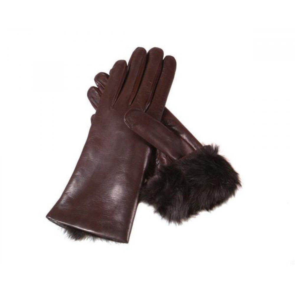 SAGEBROWN Brown Ladies Fur Lined Gloves by Sage Brown (Image #3)
