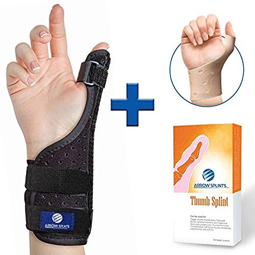 (Thumb Brace & Wrist Brace + Breathable Gel Support - Thumb Spica Splint Great for Arthritis, CMC, Tendonitis, Trigger Thumb, Carpal Tunnel Adjustable Thumb Splint Immobilizer is for Right & Left Hand)