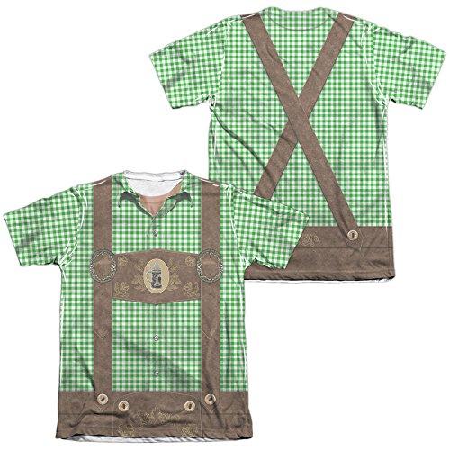 Oktoberfest Lederhosen Unisex Adult Sublimated Poly/Cotton T Shirt for Men and Women White