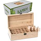 Bamboo Essential Oil Storage Box Organizer Wooden with 32 Slots for Bottles 5ml,10ml, 15ml Including Roller Ball Bottles by Free and Healthy Life