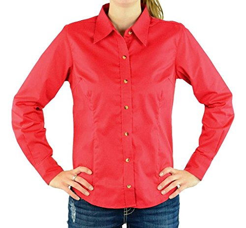 Devon & Jones Women's Long Sleeve Five-Star Performance Twill Button Down Dress Shirt D555W red (Performance Long Sleeve Twill Shirt)