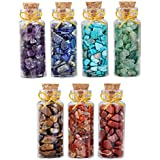 mookaitedecor 7pcs Mini Glass Wishing Bottles Tumbled Gemstone Crystal Chips Healing Reiki Stones Set