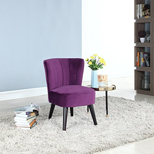 Classic and Traditional Living Room Velvet Fabric Accent Chair (Purple)