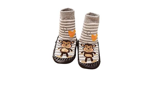 Calcetines antideslizantes de Vovotrade para bebé, con diseño de dibujos animados, sirve de zapato, color gris azul azul Talla:6-18 meses: Amazon.es: Bebé