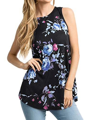 Asymmetric Tunic - Ezcosplay Women's Round Neck Short Sleeve Floral Print Asymmetric Hem Shirt Top (L, 6-Black)
