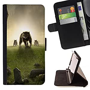 DEVIL CASE - FOR Sony Xperia Z1 L39 - Bear Meadow Grass Sunset Fantasy - Style PU Leather Case Wallet Flip Stand Flap Closure Cover
