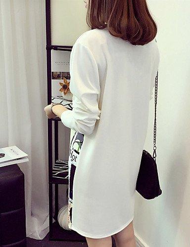 Genou Robe Femmes Du White Dessus Tailles Polyester Lyq Aux Au Coton 3xl Grandes Décontracté Col Arrondi TFd1Pcwqv1