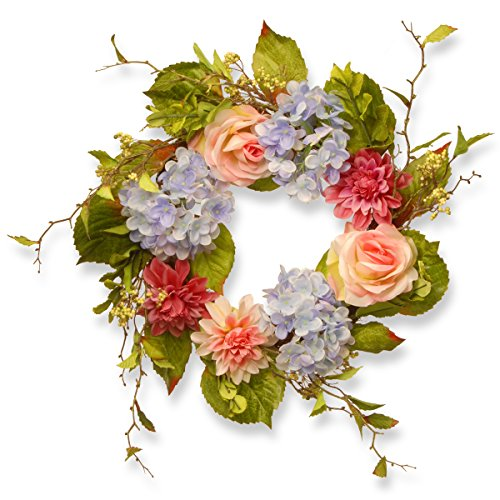 National Tree 23 Inch Floral Wreath with Dahlias, Hydrangeas and Roses (RAS-HYX0520-1) Dahlia Tree