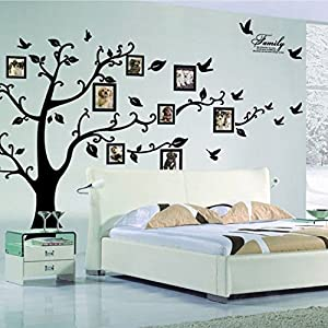 X Large DIY Family Tree Wall Art Stickers Removable Vinyl Black Trees Photo  Frames Wall Stickers Decals Home Decor Art Decals Sticker By Lisdripe  (Family ...