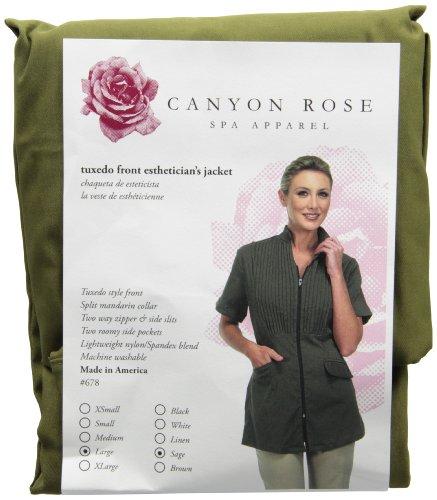 Sage Canyon - Canyon Rose Tuxedo Front Zip Salon Esthetician Jacket, Sage, L