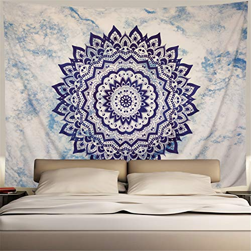 Heopapin Bohemian Mandala Tapestry Psychedelic Flower Tapestry White and Blue Hippie Wall Hanging Tapestry for Father