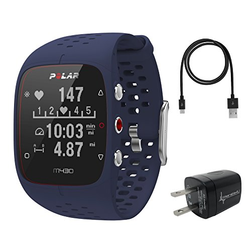 Polar M430 Advanced Running GPS Watch with Wrist-based Heart Rate Monitor and Wearable4U Wall Charging Adapter Bundle (Blue)