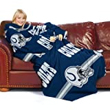 NFL Indianapolis Colts Comfy Throw Blanket with Sleeves, Stripes Design