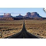 Canvas on Demand Wall Peel Wall Art Print Entitled Long, Straight Road Heading into The Desert, Arizona 36''x24''