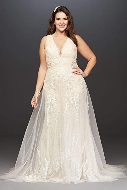 Tulle A-Line Plus Size Wedding Dress with V-Neck Style ...