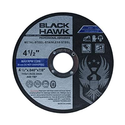 "25 Pack Black Hawk 4-1/2"" x .040 x 7/8"" Arbor Metal & Stainless Steel Cut Off Wheels - Ultra Thin Discs from Black Hawk"