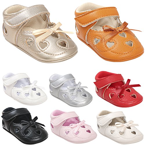 BENHERO Baby Girls Princess Mary Jane Soft Sole Bowknot Shoes (11cm(0-6Months), 3013 Silvery) (Shoes Sole Soft Baby)