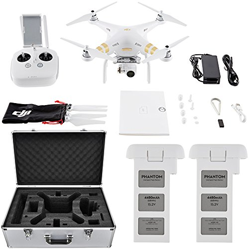 DJI Phantom 3 4K Quadcopter Drone with 4K Camera and 3-Axis Gimbal Flight Bundle includes Drone, Aluminum Carrying Case and Spare Intelligent Flight Battery by DJI
