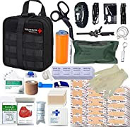 TOUROAM Emergency Survival Personal IFAK - Military EMT Molle Trauma Kit Hurricane Preparedness First Aid Supp