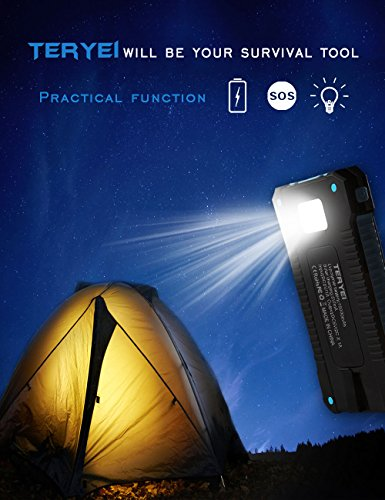 Review Solar Charger 15000mAh,Teryei Portable Solar Power Bank High Efficiency Solar Phone Charger with Solar Panel, Dual USB Cell Phone Battery Charger for iPhone,Samsung and Emergency Out (Blue)