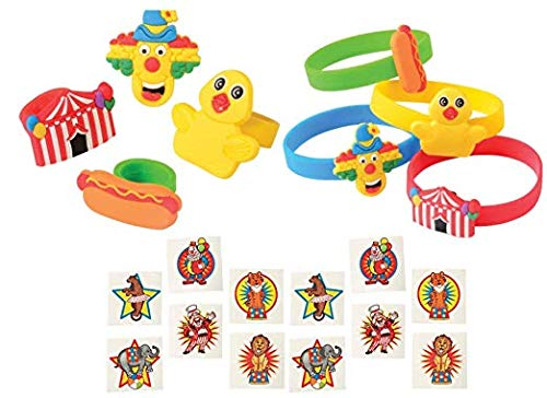 Circus Party Favors (60 Piece Carnival Circus Party Favor Set- Bracelets, Rings, and)