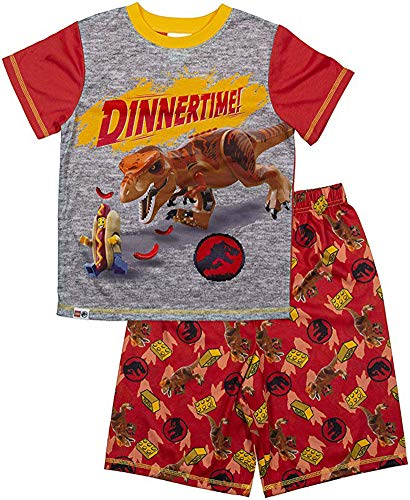 LEGO Jurassic World Boys Pajama, 2 Piece PJ Set, Short Sleeve and Pant, Boys Size 4/5 to 10/12
