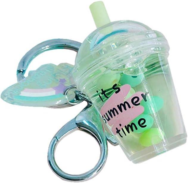 LOHONER Cute Coffee Cup Dollhouse Miniature Keyring Food Drink Bottle Quicksand Keychain