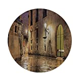 iPrint Cotton Linen Round Tablecloth,Gothic Decor,Gothic Ancient Stone Quarter of Barcelona Spain Renaissance Heritage Gothic Night Street Photo,Cream,Dining Room Kitchen Table Cloth Cover