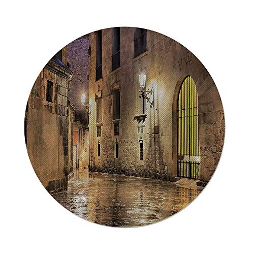iPrint Cotton Linen Round Tablecloth,Gothic Decor,Gothic Ancient Stone Quarter of Barcelona Spain Renaissance Heritage Gothic Night Street Photo,Cream,Dining Room Kitchen Table Cloth Cover by iPrint