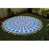 Montreal Tapassier Round Sheet ,round yoga mat, huge round picknic blanket GYPSY Tapestries,home decor hangings ,Round Table cloth ,Just round yoga mat ,picknic blankets,dorm tapestries White blue peacock vibrant