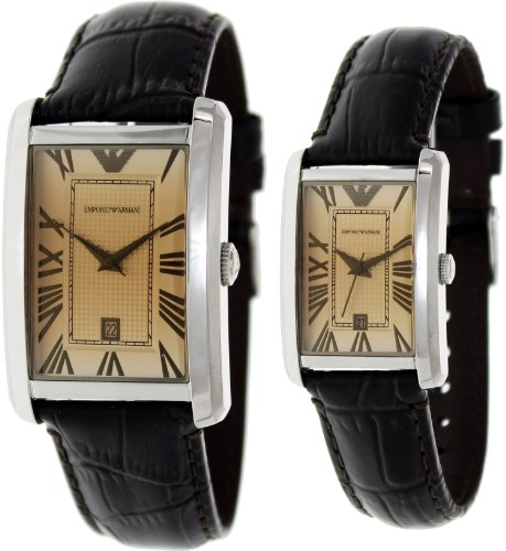 GIF SET Emporio Armani Brown Dial Brown Leather Strap Pair of Mens and Womens Watch AR9103