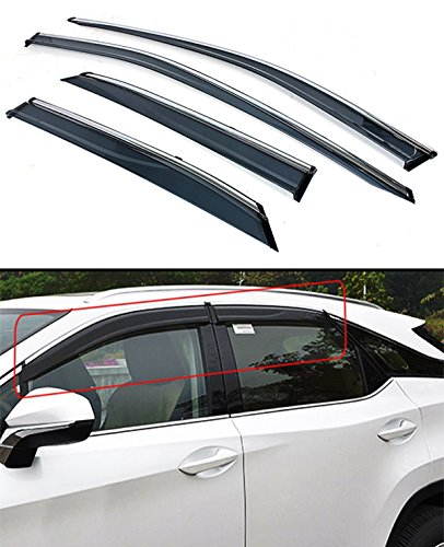 Cuztom Tuning VIP Clip-ON Type Window Visor Rain Guard with Chrome Trim for 2016 2017 2018 2019 Lexus RX350 RX450H