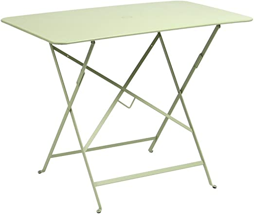 Fermob mesa rectangular plegable cm. 117 x X77 de acero color verde tilo: Amazon.es: Jardín