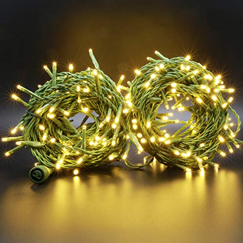 LED Cluster Christmas Lights, 48 Feet 288 LED Cluster Rice Lights, Wide Angle Fairy Lights, Christmas Garland Wreath Banister Fireplace Porch Balcony Decor String Light (Green Wire Warm White) (Garland With Christmas Lights Led)
