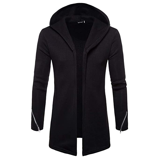 eb6ca4a61 GoodLock Clearance!! Men's Hooded Zipper Trench Coat Solid Long Sleeve  Jacket Cardigan Outwear Blouse