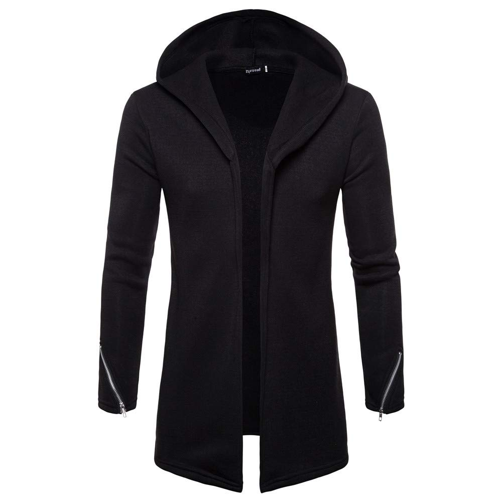 Forthery Clearance Men's Trench Coat with Hood Winter Long Zipper Jacket Overcoat Cardigan(Black, US Size S = Tag M)