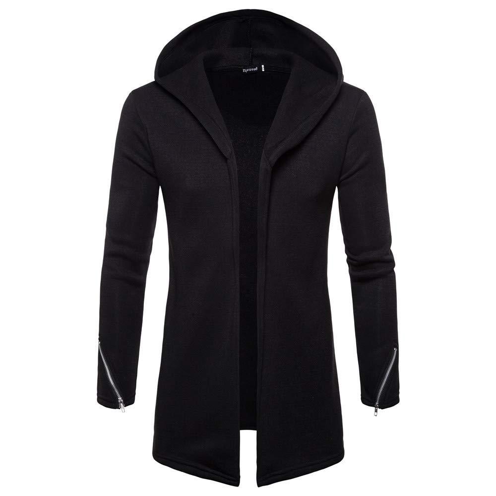Men Parka Winter Coat Hooded Solid Trench Coats Raincoat Zipper Jacket for Men Waterproof Cardigan Outwear Overcoat Black