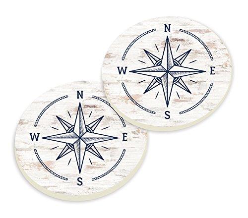 (P. Graham Dunn Vintage Compass Rose Blue Whitewash Look 3 x 3 Ceramic Car Coasters 2 Pack)