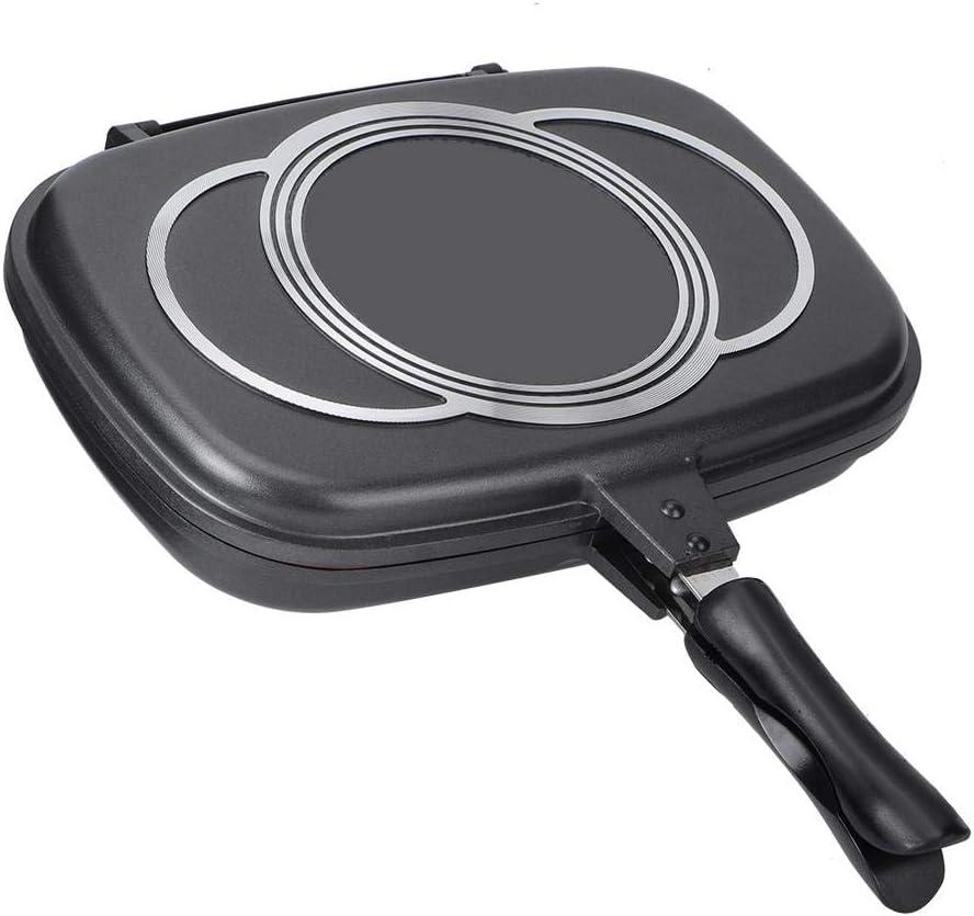 Sartén, sartén antiadherente de doble cara Sartén duradera Utensilios de cocina con mango anti-escaldado para todas las estufas para el hogar, al aire ...
