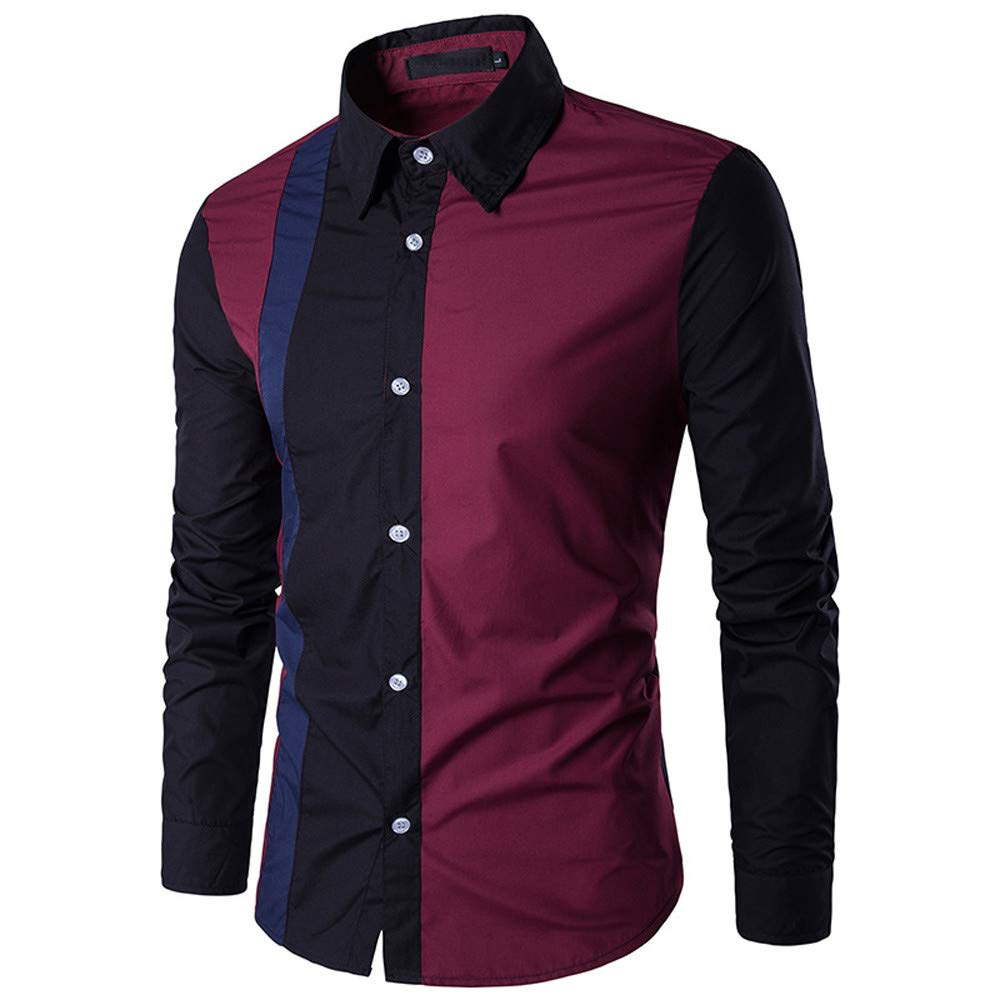 Men's Autumn Winter Long Sleeved Patchwork Fastener Sweatshirts Top Blouse PASATO New Hot!(Wine, Red)